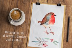 Cute watercolor robin, leaves and berries. Product Image 1