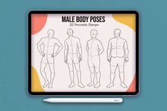 20 Realistic Male Body Poses Stamps for Procreate Product Image 1