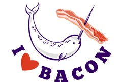 narwhal whale i love bacon Product Image 1