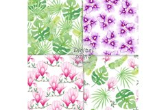 Watercolor Seamless Pattern Tropical leaves Orchidea Magnoli Product Image 3