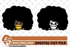 2x Black Girl in Mask Bundle svg, Fashion svg, Afro Hair svg Product Image 1