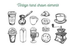 Coffee and bakery illustrations with menu templates Product Image 1