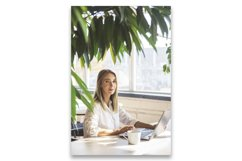 Beautiful caucasian girl working on a laptop remotely. Product Image 1