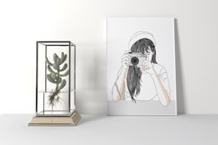 Art Print - Girl secretly taking pictures Product Image 3