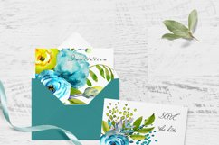 Watercolor flowers clipart design blue and yellow invite Product Image 2