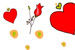 Festive cat with love heart and rose in its paws/clipart Product Image 4