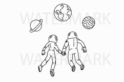 Romantic Astronaut Couple in the space - SVG/JPG/PNG Hand Drawing Product Image 1