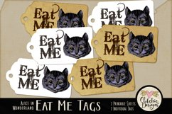 Alice in Wonderland Cheshire Cat Eat Me Printable Tags Product Image 1