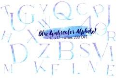 Blue watercolor alphabet clipart,Watercolor letters Product Image 1