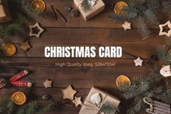 Zero waste Christmas card with frame on wooden background Product Image 1