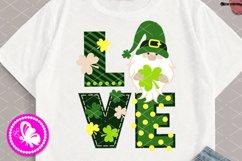 Love sign St Patrick's day Gnome decor Shamrock Cricut Svg Product Image 1