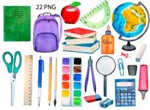 Watercolor School Clipart, Teacher Clipart, School Supplies Product Image 2