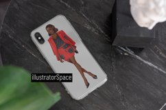 Fashion clipart, African american Boss girl clipart PNG Product Image 2