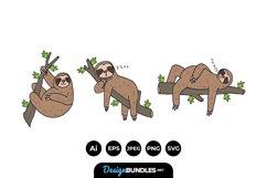 Cartoon Sloth Family Illustrations Product Image 1