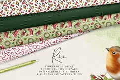 Christmas Robin Clipart and seamless patterned paper tiles Product Image 2