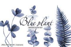Blue floral Fern Blue leaves Plant print watercolour plants Product Image 1