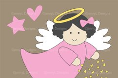 Girl Baptism Angel Digital Papers and  Angels Clipart Product Image 2