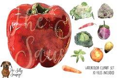 Garden Veggies Watercolor Clipart Product Image 1