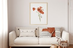 Watercolor Poppy Wall Art, Poppy Wall Print, Plant Poster Product Image 3