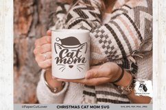 Christmas Cat Mom SVG at Mama SVG Cat in Santa Hat SVG Product Image 4