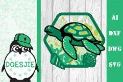Sea turtle layered multi layer mandala sea nautical 3d svg Product Image 9