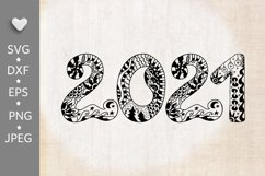 2021 Typography design. Happy New Year. Zentangle SVG PNG Product Image 3