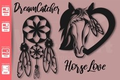 Dreamcatcher and Horse in a Heart - SVG - Product Image 2