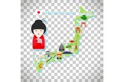 Japan travel map on transparent background Product Image 1