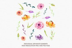 Bergenia - Digital Watercolor Floral Flower Style Clipart Product Image 2