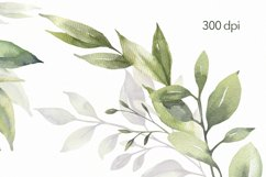 Watercolor Greenery Wreath Clipart. Product Image 2