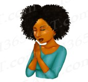Praying Woman African American Natural Hair Clipart PNG Product Image 2