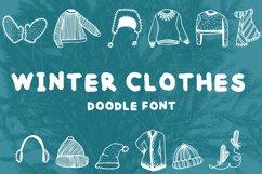 Winter clothes doodle font Product Image 1