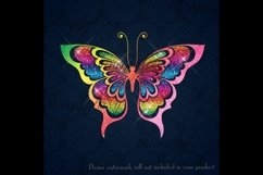 30 Rainbow Glitter Sequin Watercolor Butterfly Clip Arts PNG Product Image 6