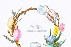 Watercolor Easter Spring Floral Wreath Eggs Clipart Product Image 3