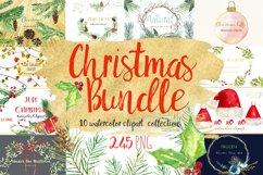 Christmas watercolor clipart bundle Product Image 1
