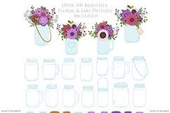 Purple Mason Jar Floral Purple Wedding Clipart Product Image 5