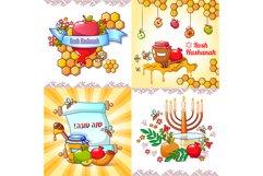 Rosh Hashanah banner concept set, cartoon style Product Image 1