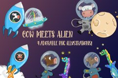 Cow Meets Alien| Cows in Space|Alien and Cow Clipart Product Image 1