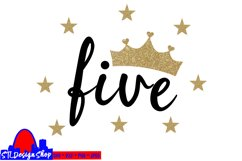 Fifth Birthday Party Princess SVG PNG DXF jpeg Crown 5 Five Product Image 2