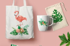 Tropical set of watercolor elements with flamingo Product Image 3