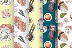 Watercolor sushi set of beautiful tasty japanese sushi Product Image 6