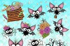 Cute Halloween Clipart, Bats Clip Art PNG Pack Product Image 4