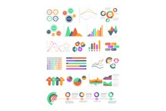 Multicolored vector infographics with different graphs and d Product Image 1