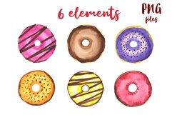 Donuts Watercolor mini Set. Clipart Product Image 2