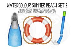 Watercolor Summer Beach Clip Art Set 2 Product Image 5