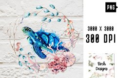 Sea Turtle Ocean Wildlife PNG Sublimation Design Product Image 1