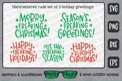 Rude Freaking Holiday Greetings - Christmas and Winter SVGs Product Image 5