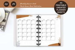 Undated monthly planner A5. Printable Monday week start Product Image 1