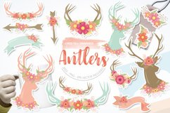 Antlers, deers and flowers Graphics and illustrations, vecto Product Image 1