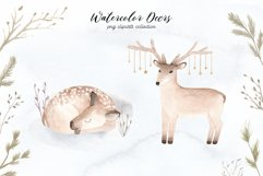 Watercolor Christmas Deers Cliparts Product Image 3